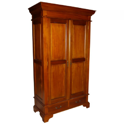 Sleigh Double Armoire Wardrobe with 2 Drawers